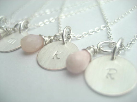 Bridesmaid set handstamped sterling silver plated with wire wrapped gemstones