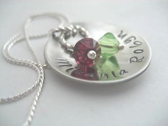 Mothers hand stamped & domed stainless steel necklace