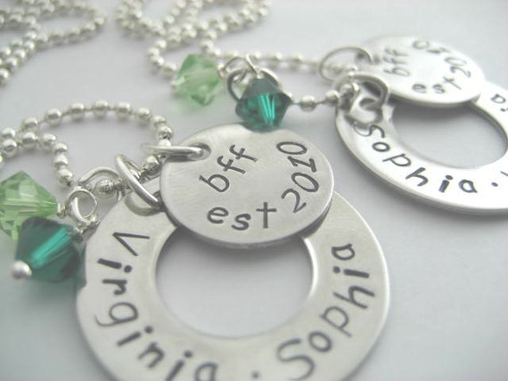 BFF necklace set, hand stamped stainless steel