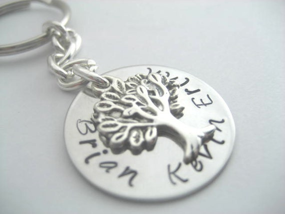 Family tree keychain- custom handstamped stainless steel