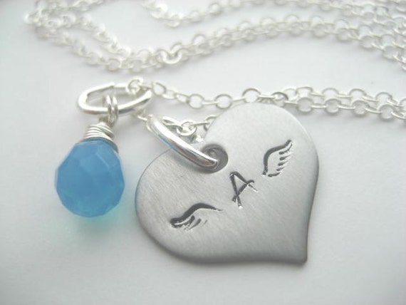 Angel wings handstamped necklace personalized with wire wrapped turquoise stone