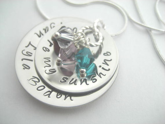 You are my sunshine, hand stamped & domed stainless steel mothers necklace