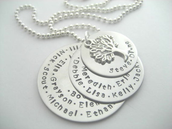 Family tree necklace with lots of names