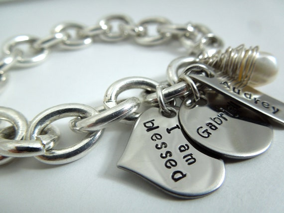 Cable chain bracelet, handstamped stainless steel