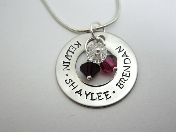 Mother's necklace, handstamped stainless steel washer with swarovski crystal birthstones