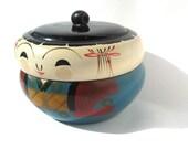 1950's vintage Japan Kokeshi lacquer lidded box