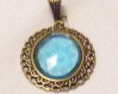 Detash Blue Turquioise Antique Gold Pendant
