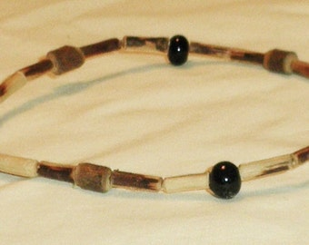 """Anklet Brown and Black Twig  Earthy Summer Beach Jewelry """"Faith"""" Dangle, Religious Jewelry, Earthtone Anklet by Cindydidit  OOAK"""
