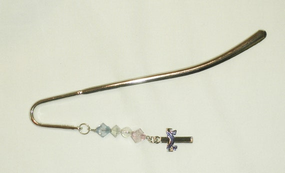 Bible Mark Silver Hook Cross Dangle Pink and Blue, Cross Bookmark, Silver Bookmark, Religious,  Cross Jewelry by CindyDidit OOAK
