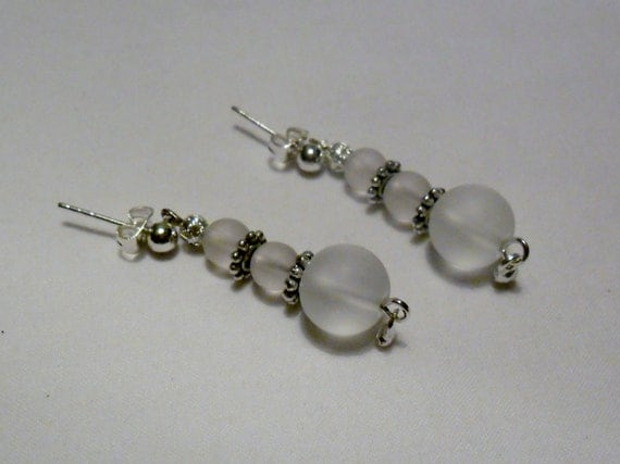 Pale PInk and White Frosted Earrings Dangle on Pose OOAK