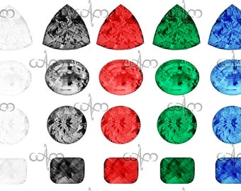 Diamonds, Gems and Precious Stones Clip Art Graphic Design Pattern for your art projects