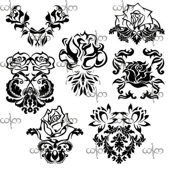 Items similar to Rose Damask Clip Art Graphic Design ...