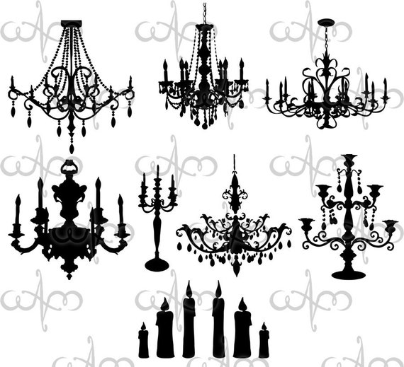 Baroque Chandeliers Clip Art Graphic Design Pattern for your art projects