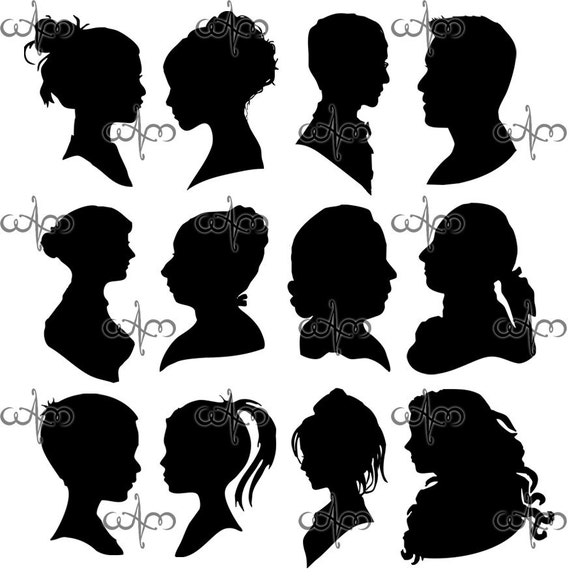 Baroque People Silhouettes with Frames Clip Art Graphic Design Pattern for your art projects