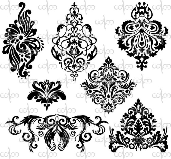 items similar to damask clip art 3 graphic design. Black Bedroom Furniture Sets. Home Design Ideas