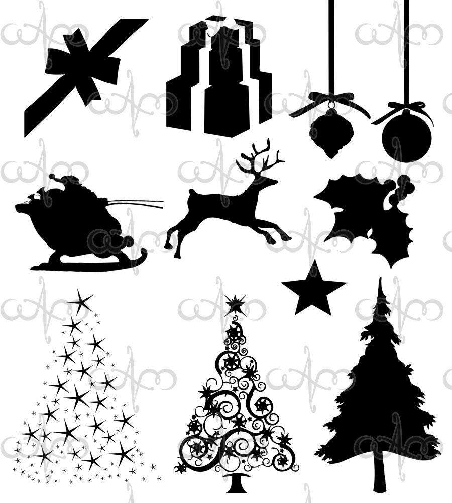 Christmas Silhouette Clip Art Graphic Design Pattern by ...