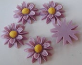 10 pcs Big Chrysanthemum Cabochon 23mm, Purple /Yellow centre