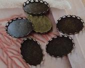 10 Pcs Antique Brass Lace Edge Oval Cabochon Setting,18 x 25 mm