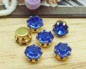 10 pcs  Golden Brass  Base Sapphire  Charms 6mm,