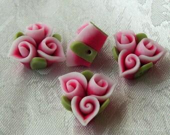4pcs unique fimo  flower,pink w/white