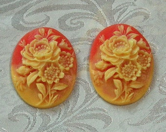 4 pcs  ivory peony on coral colored cameo, 30 x 40 mm