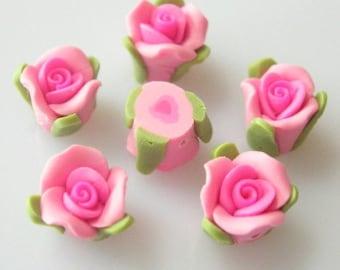 8 pcs beautiful fimo rose flower 8 mm, pink