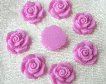 15Pcs Beautiful Rose Cabochon,Purple