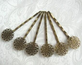 10 Pcs Antique Bronze Hair Clip w/ Filigree
