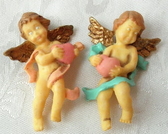 2 Pcs  ( 1pair)  Love Little Angel.Cabochon - Hand Paint