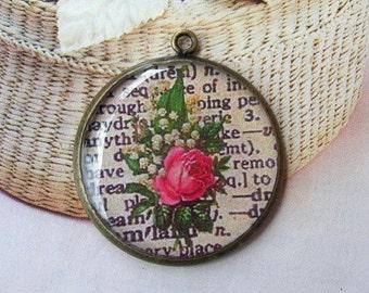 2 Pcs( 30 mm) Antique Brass Rose Flower Glossy Pendant Charm,NICKEL FREE