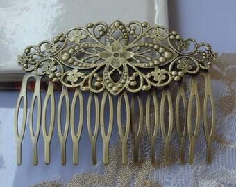 2 pcs Antiqued Vintage Bronze 14Teeth Barrette Hair Combs