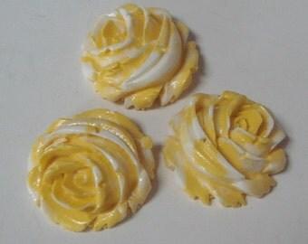 6pcs Rose Cabochon 22 mm,Yellow w/White Edge