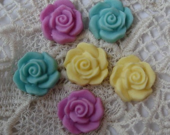 12 pcs Beautiful Rose Cabochon15mm.Mix-Colour