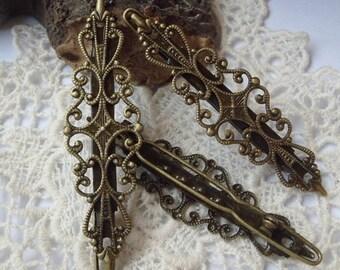 8pcs Antique Brass Plated Hair Clip Filigree,Nickel Free15x56mm