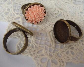 10pcs (18mm Setting) Adjustable Antique-Brass Round  Ring, NICKEL FREE