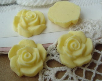 15 Pcs Beautiful Rose Cabochon,Lemon
