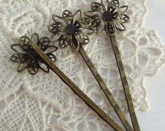 15 Pcs Antique Brass W/Cute  Flower  Hair Clip NICKEL FREE.(CN-001)