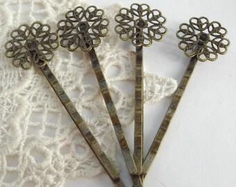 24  Pcs Antique Bronze Hair Clip w/ 16 mm Filigree,Nickel Free(CN-002)