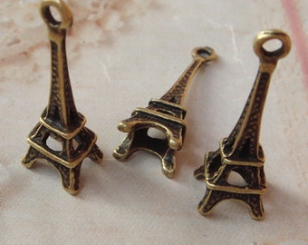 10Pcs 3D Antiqued Bronze Eiffel Tower Pendant / Charms