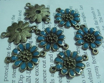 10pcs Antiqued Vintage Bronze Flower Charms / Pendant-18x25MM,Blue