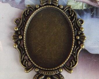 4 Pcs Antique Brass Plated Cabochon Pendant Base .35x46mm