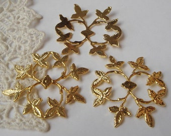 6pcs Gold Plated  Leaves  Filigree Charms,37x41mm