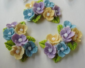 4 Pcs Beautiful  Flowers Cabochon Colourful,-Hand Painted Purple with Blue (CHBF-01)