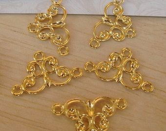 12 pcs Gold Plated Triangle  Filigree Charms,11x18mm