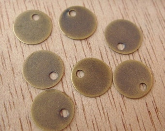 50Pcs Antique Brass Rounds  Charms, Nickel Free