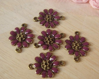 10pcs Antiqued Vintage Bronze Purple Flower Charms/Pendant-18x25MM,Purple