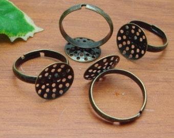 12pcs Antique Brass Ring W/14 mm Net Pad,NICKEL FREE.
