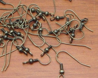 50 pcs Antique Brass Plated Earwires Hooks.