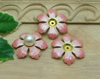 6 pcs Raw Brass Finding Resin Glossy, Pink Rose  ( 120230)