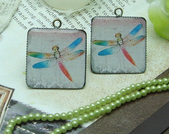 4 pcs (25x25 mm ) Handmade Resin Pendants with Antique Bronze Pendant Setting(H151503)